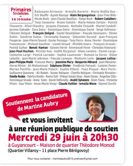 1er meeting le 29 juin pour Aubry. Calendrier, calendrier... de qui se moque-t-on :) ? | Hollande 2012 | Scoop.it