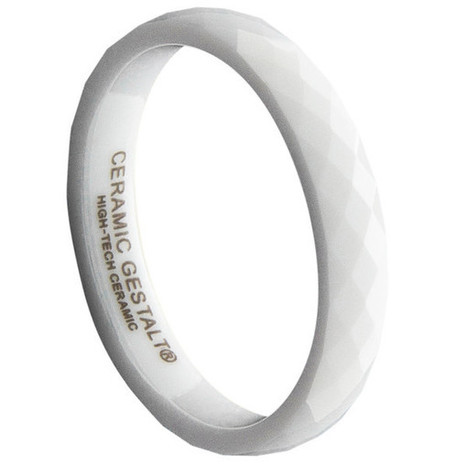 GESTALT® White Ceramic Ring - 4mm Width. Faceted Design. Comfort Fit.   Jewelry Trends   Scoop.it