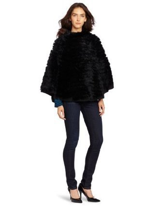 525 America Women's Lacey Fur Knit Poncho, Black, Medium/Large | Big Deals Fashion Today | Scoop.it