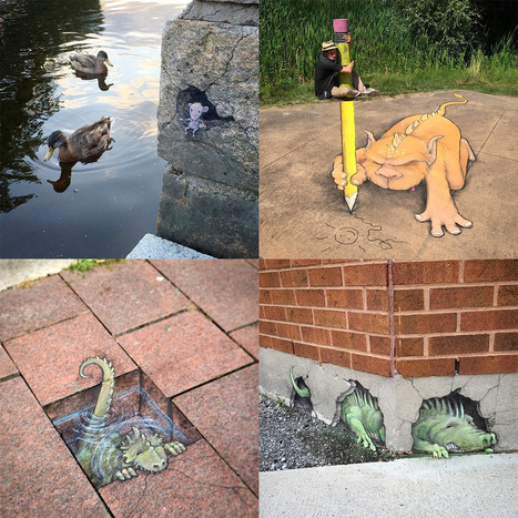Quirky New Chalk Characters on the Streets of Ann Arbor by David Zinn | The brain and illusions | Scoop.it