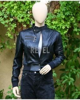 Womens Black Leather Slimfit Bomber Jacket- Sonia | Leather Jacket Stylish | Scoop.it