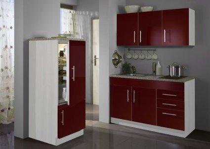 –> Günstige    Held Möbel 907.6515 Single-Küche 180 mit 2-er Glaskeramikkochfeld und Kühlschrank mit Gefrierfach, glanz-rot / alufarben | Spülenschrank Günstig | Scoop.it