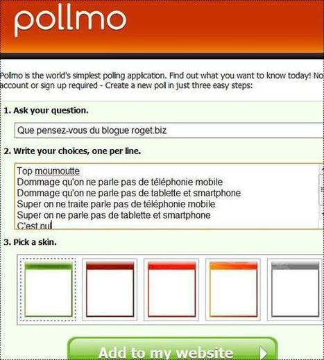 Pollmo.com faire un sondage en ligne sur un blogue | Time to Learn | Scoop.it