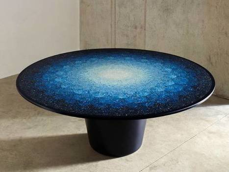 "Ocean plastic upcycled into elegant ""ocean terrazzo"" table 