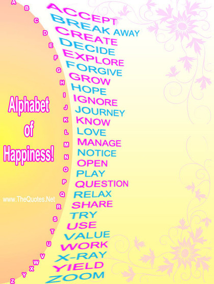 Alphabet of Happiness! | TheQuotes.Net - Motivational Quotes | Share Happiness | Scoop.it