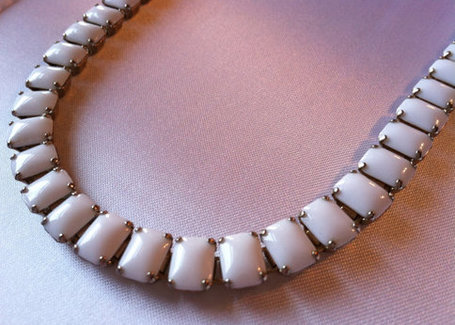 White Square Baguette Vintage Necklace | Gorgeous Vintage I Crave! | Scoop.it