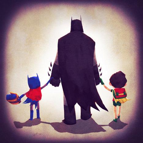 Les héros de DC Comics emmènent leurs enfant à l'école #super_héros | Street-art Design Grafititi et Gros minet | Scoop.it