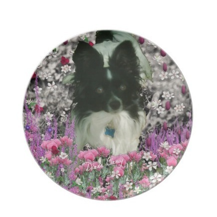 Matisse in Flowers - White & Black Papillon Dog Party Plate from Zazzle.com | Fanciful Animals to Delight You | Scoop.it
