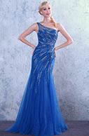 [EUR 149,99] Robe de bal/robe de soirée bleue sirène col asymétrique (C36146005) | robe de mariée, robe de soirée | Scoop.it