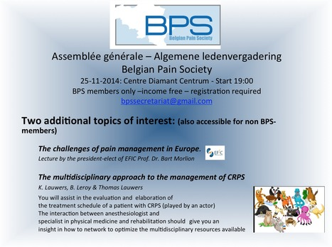Assemblée générale - Algemene ledenvergadering. Two additional topics of interest (accessible for non-members) | News from the Belgian Pain Society | Scoop.it