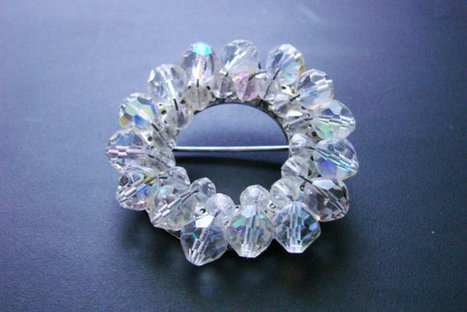 Vintage Crystal Aurora Borealis Cluster Brooch / Mid Century / Wedding Bridal / Jewelry / Jewellery | Vintage and Antique Jewelry & Fashion | Scoop.it