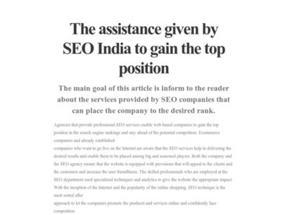 The assistance given by SEO India to gain the top position   Organic Seo India   Scoop.it