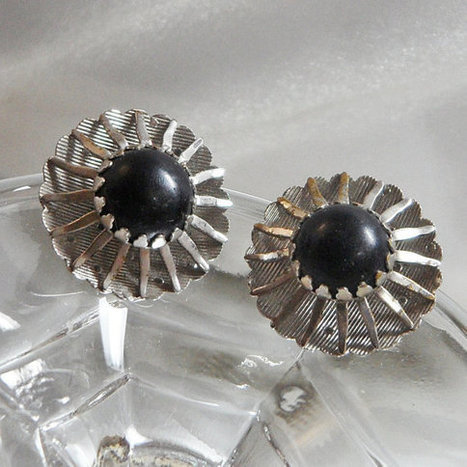 Vintage Black Beauty Sarah Coventry Earrings. 1967. Atomic. Silver Tone.   I Love Vintage Jewelry   Scoop.it