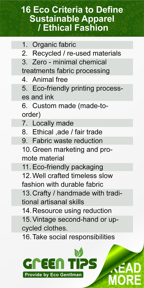 16 Eco Criteria to Define Sustainable Apparel / Ethical Fashion | Eco ... | Eco-fashion | Scoop.it