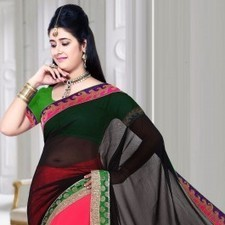 Pink & Black Chiffon Saree | Strollay.com | Scoop.it
