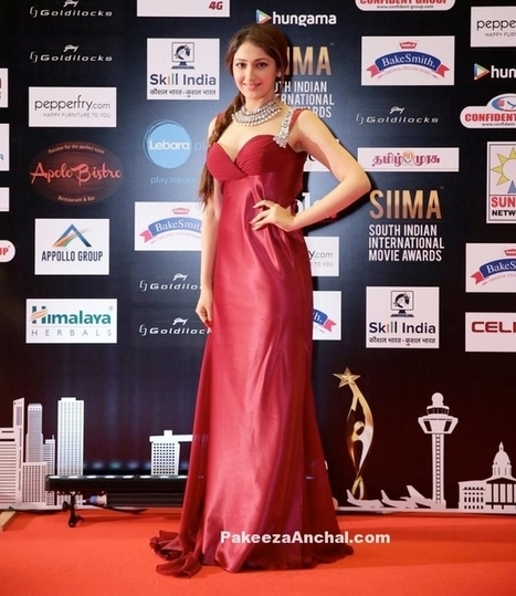 Sayyesha Saigal in Red Gown with Thin Straps   Indian Fashion Updates   Scoop.it
