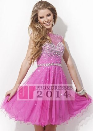 Girl Hot Pink Short Open Back Prom Dress With Crystal Beads Bodi [TB-TS11477 Hot Pink] - $149.00 : 2014 New Arrival Designer Prom Dresses | Sexy | Scoop.it