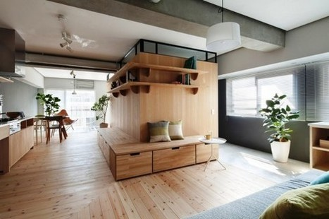 Modern Apartment Renovation With An L-Shaped Wooden Wall | DigsDigs | Designing Interiors | Scoop.it