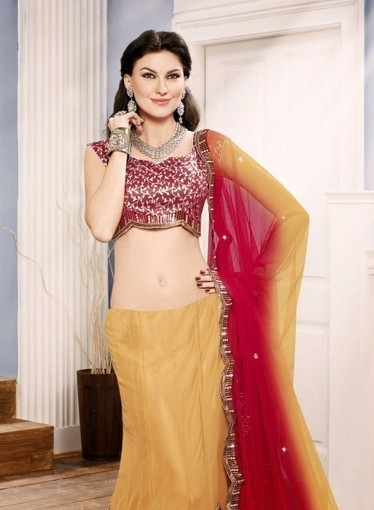 Red & Mustered Lehnga with lace, sequence, stone, zari. Shop online today   Bridal Lehengas   Scoop.it