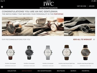 IWC app recommends watches using personality quiz responses - Luxury Daily - Mobile | Branding et Luxe | Scoop.it