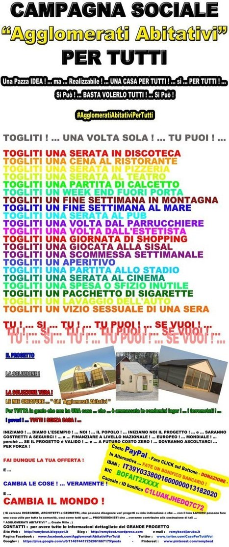 CAMPAGNA SOCIALE  -  #AgglomeratiAbitativiPerTutti | Romy Beat - Writer&Screenwriter | Scoop.it