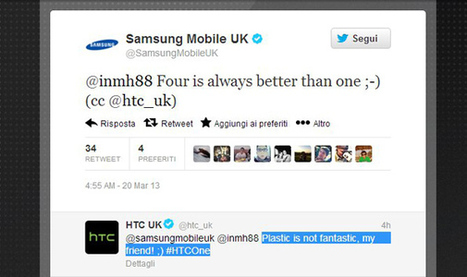 HTC One vs Samsung Galaxy S4: la tensione cresce nei social network | Android News Italia | Scoop.it