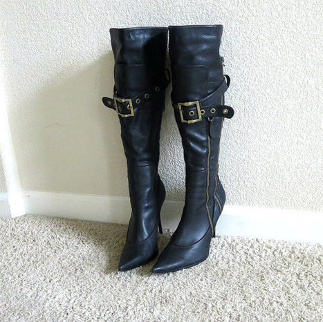 Vintage Black Soft Leather Stiletto Buckle, Belt & Zippers Pirate or Biker Boots | Etsy Vintage | Scoop.it