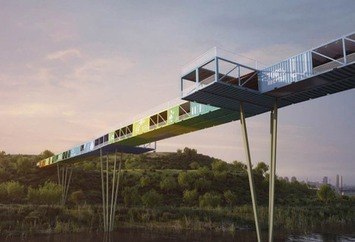Architect proposes a pedestrian bridge in Israel built from discarded shipping containers | Architectural News | Scoop.it