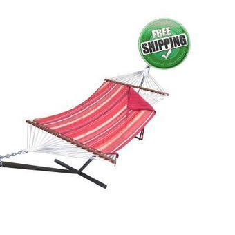 Sunrise Striped Cotton Rope Hammock with Hammock Stand, Pad & Pillow | Hammocks in India | Scoop.it