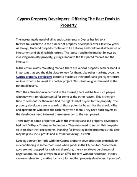 Ensure Safety Of Your Property With Kanika Developments Limassol | Property In Cyprus | Scoop.it