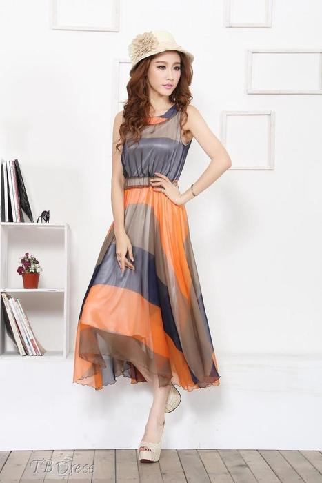 $ 28.79 Elegant Color Block  Striped Jumper Bohemian Maxi Dress | Gentleman | Scoop.it