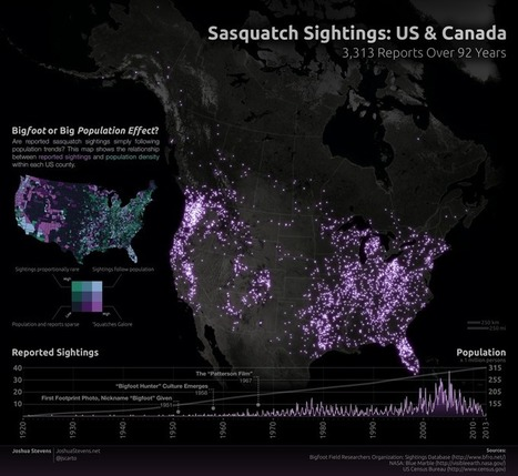 'Squatch Watch: 92 Years of Bigfoot Sightings in the US and Canada - Joshua Stevens | Data Visualization - BESegal | Scoop.it