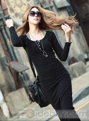 New Fashion Sexy Euramerican Style Pure Color Slim Long Sleeve Dress | beautyful | Scoop.it