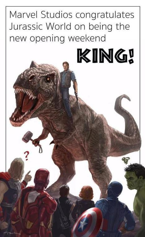 Marvel And Kevin Feige Congratulate JURASSIC WORLD For Becoming #1 With Amazing Artwork | Comic Book Trends | Scoop.it
