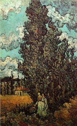 Cypresses and Two Women 1890 by Van Gogh   Van gogh Replica Paintings for Sale   Scoop.it