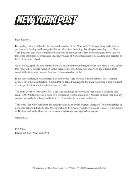 Fake Apology Letter in New York Post | The Boston Marathon Bombing: Media Full of Mistakes | Scoop.it