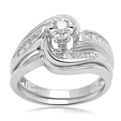 Jewelili cttw Baguette & Round diamond 10K White Gold Bridal... | Jewelry Mall | Scoop.it