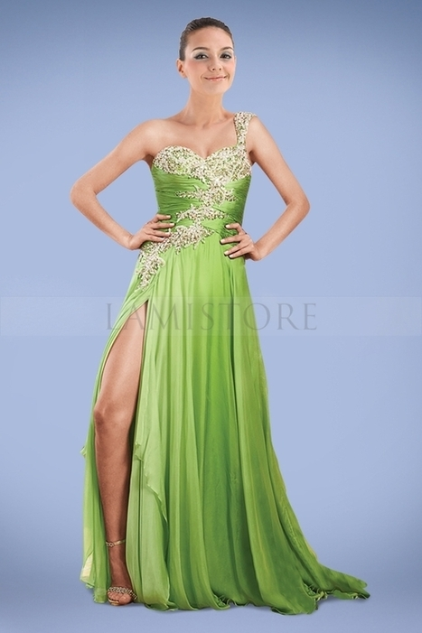 Concise Bud Green One Shoulder A-line Prom Dresses with Exquisite Applique : Lamistore.com | Lamistore Fashion Prom Dresses | Scoop.it