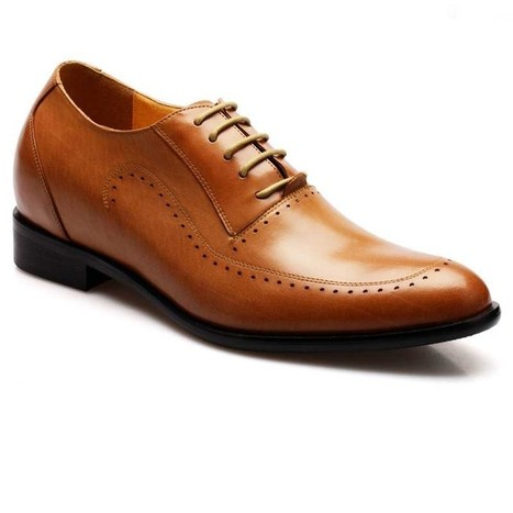 brown waxed leather dress formal elevator shoes to help you get taller 7cm and boost confidence | best elevator shoes for men to be taller and elegant | Scoop.it