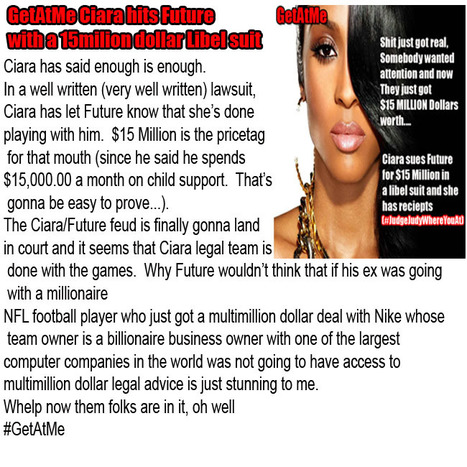 GetAtMe Ciara is done withthe foolishness, hits Future with a 15Million dollars libel suit... #Wow | GetAtMe | Scoop.it