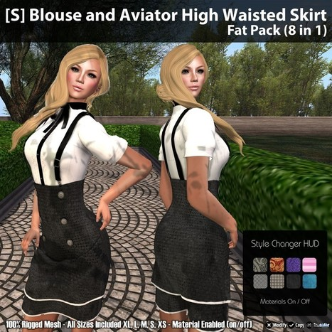 Blouse and Aviator High Waisted Skirt Fat Pack (8 in 1) Group Gift by [satus Inc] | Teleport Hub - Second Life Freebies | Second Life Freebies | Scoop.it
