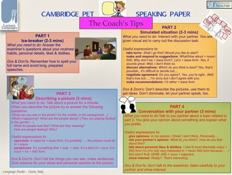Larissa's Languages: Useful tips for the Cambridge PET and FIRST Speaking papers | Learning English is a Journey | Scoop.it