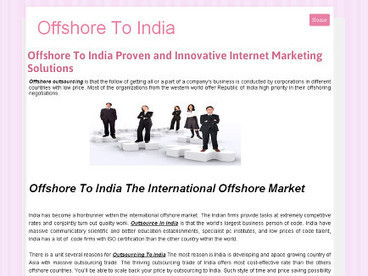Offshore To India Proven and Innovative Internet Marketing Solutions | outsource in india | Scoop.it
