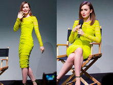 Lily Collins sports a neon yellow midi dress and patent green heels in Soho ... - Sugarscape   Fashion   Scoop.it