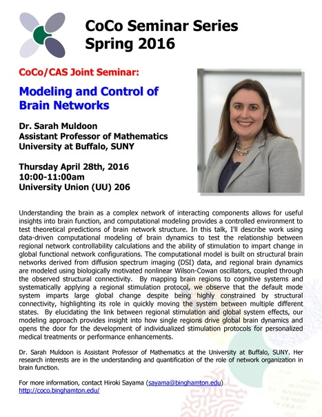 Final CoCo seminar of Spring 2016 by Sarah Muldoon on Thu 4/28 | Center for Collective Dynamics of Complex Systems (CoCo) | Scoop.it