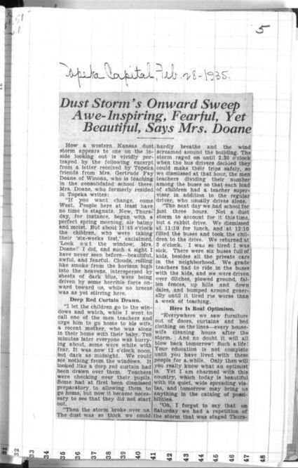 Dust storm's sweep awe-inspiring, fearful, yet beautiful, says Mrs. Doane - Kansas Memory | *The Dust Bowl of the Great Plains* | Scoop.it
