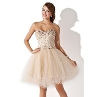 [US$ 147.99] A-Line/Princess Sweetheart Knee-Length Satin Tulle Homecoming Dress With Beading (022009621) | fashion | Scoop.it
