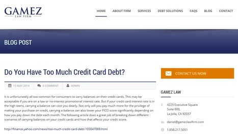Do You Have Too Much Credit Card Debt? | Gamez Law Firm | Gamez Law Firm | Scoop.it
