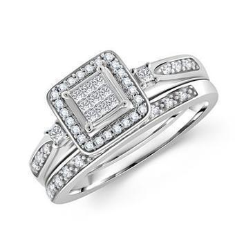 Square Cut Princess Diamond Bridal Ring and Wedding Set | Wedding Ring | Scoop.it