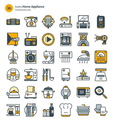 Freebie: Home Appliance And Real Estate Icons (72 Icons, AI, CSH, EPS, SVG, Webfont, Sketch) | El Mundo del Diseño Gráfico | Scoop.it